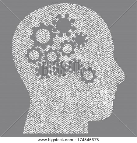 Human Mind Gears vector textured icon for overlay watermark stamps. Fabric white vectorized texture. Symbol with dirty design. Rubber seal stamp with fiber textile structure.