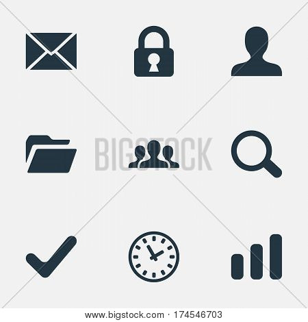Set Of 9 Simple Application Icons. Can Be Found Such Elements As Community, Dossier, Watch And Other.