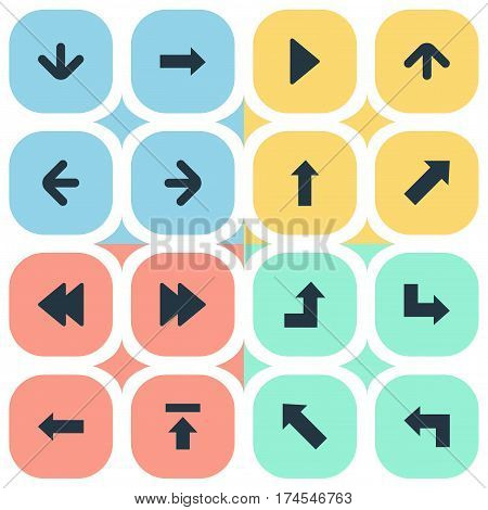 Set Of 16 Simple Indicator Icons. Can Be Found Such Elements As Left Direction, Downwards Pointing, Indicator And Other.