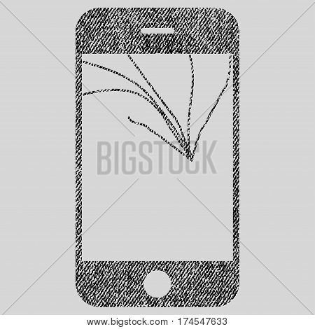 Broken Smartphone Screen vector textured icon for overlay watermark stamps. Fabric black vectorized texture. Symbol with dirty design. Rubber seal stamp with fiber textile structure.