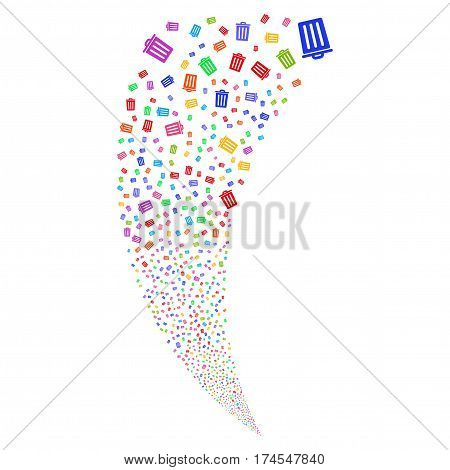 Dustbin random fireworks stream. Vector illustration style is flat bright multicolored iconic symbols on a white background. Object fountain combined from scattered design elements.