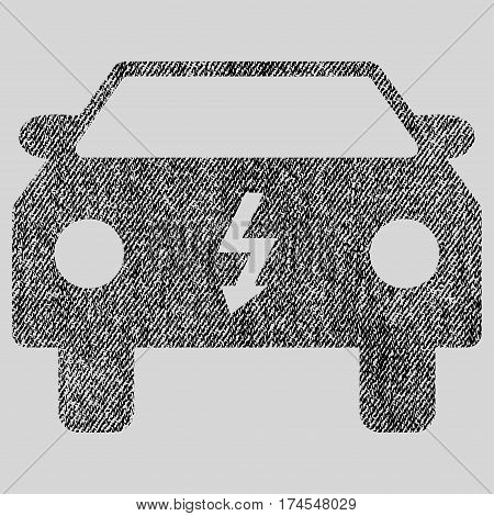 Electric Car vector textured icon for overlay watermark stamps. Fabric black vectorized texture. Symbol with dirty design. Rubber seal stamp with fiber textile structure.
