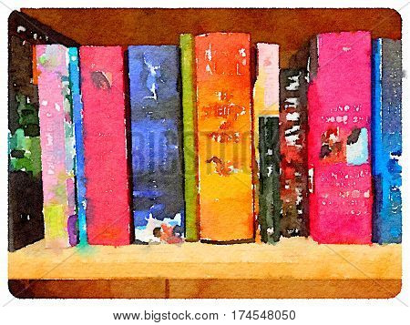 Digital watercolor painting of a novels on a shelf.