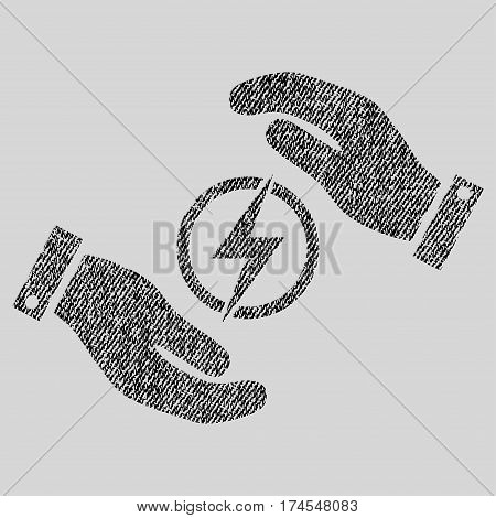 Electric Energy Insurance Hands vector textured icon for overlay watermark stamps. Fabric black vectorized texture. Symbol with scratched design. Rubber seal stamp with fiber textile structure.