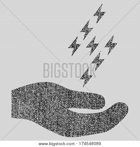 Electric Energy Offer Hand vector textured icon for overlay watermark stamps. Fabric black vectorized texture. Symbol with dust design. Rubber seal stamp with fiber textile structure.