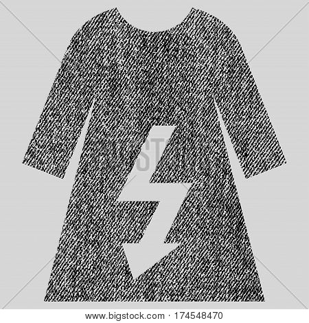 Electric Woman Dress vector textured icon for overlay watermark stamps. Fabric black vectorized texture. Symbol with dirty design. Rubber seal stamp with fiber textile structure.