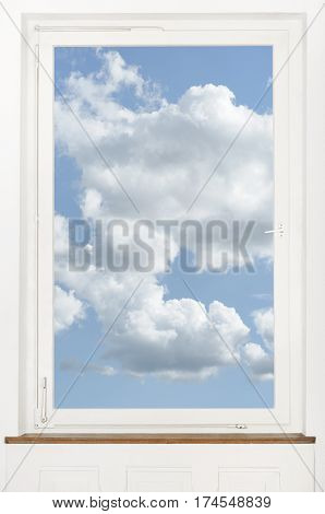 Blue sky view out of window pane