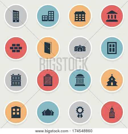 Set Of 16 Simple Structure Icons. Can Be Found Such Elements As Academy, School, Popish And Other.