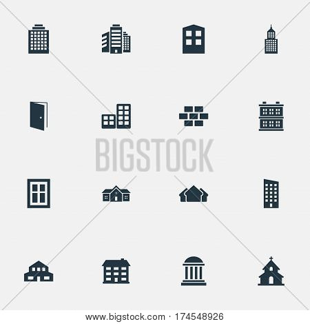 Set Of 16 Simple Construction Icons. Can Be Found Such Elements As Construction, Structure, Block And Other.