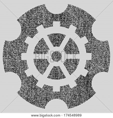 Gearwheel vector textured icon for overlay watermark stamps. Fabric black vectorized texture. Symbol with dust design. Rubber seal stamp with fiber textile structure.