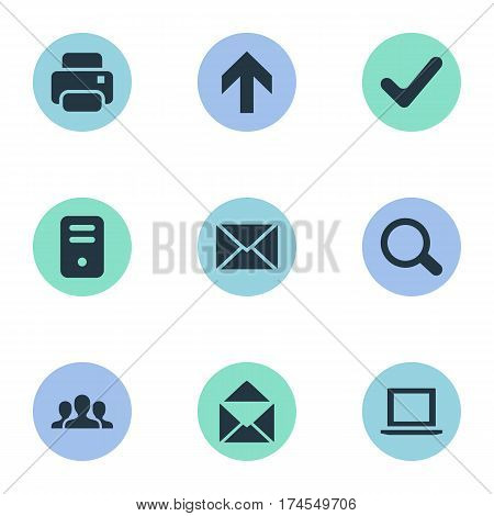 Set Of 9 Simple Application Icons. Can Be Found Such Elements As Upward Direction, Printout, Message And Other.