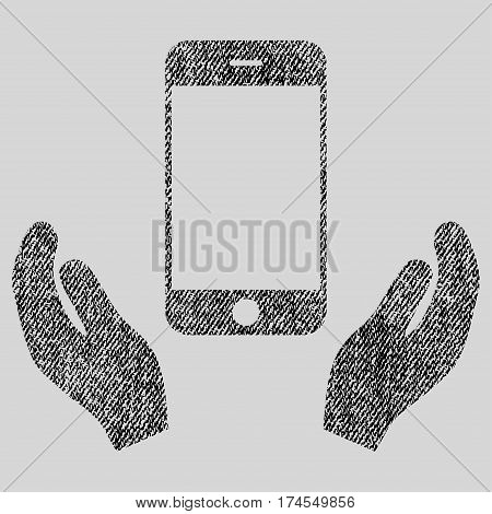 Smartphone Care Hands vector textured icon for overlay watermark stamps. Fabric black vectorized texture. Symbol with dust design. Rubber seal stamp with fiber textile structure.