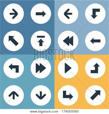Set Of 16 Simple Indicator Icons. Can Be Found Such Elements As Pointer, Advanced, Increasing And Other.