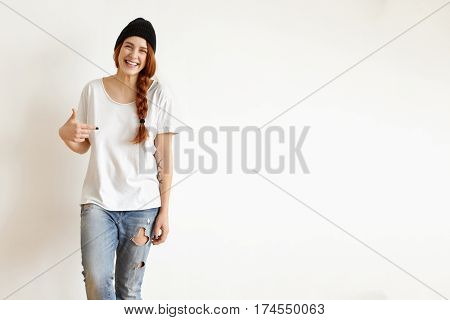 People, Clothing, Style, Fashion And Design Concept. Cheerful Redhead Hipster Girl With Braid Hairst
