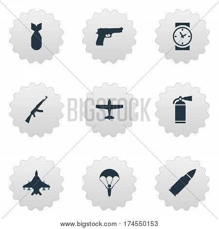 Set Of 9 Simple Terror Icons. Can Be Found Such Elements As Air Bomber, Ammunition, Nuke And Other.