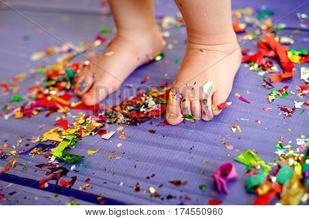 Kid Baby Foot Confetti Party Celebration Concept