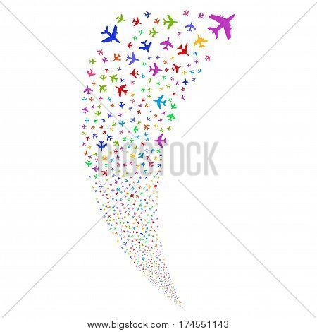 Jet Plane random fireworks stream. Vector illustration style is flat bright multicolored iconic symbols on a white background. Object fountain done from scattered pictograms.