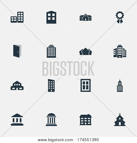 Set Of 16 Simple Construction Icons. Can Be Found Such Elements As Gate, Structure, Residence And Other.