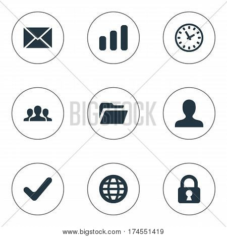 Set Of 9 Simple Practice Icons. Can Be Found Such Elements As Dossier, Statistics, Watch And Other.