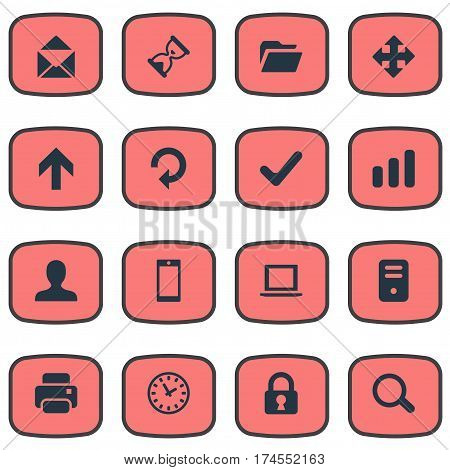 Set Of 16 Simple Application Icons. Can Be Found Such Elements As Watch, Dossier, Magnifier And Other.