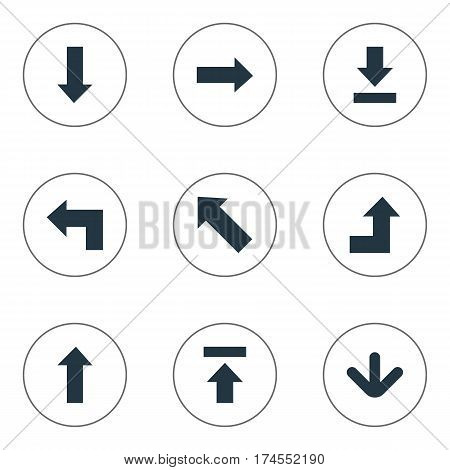 Set Of 9 Simple Pointer Icons. Can Be Found Such Elements As Pointer, Downwards Pointing, Downwards Pointing And Other.