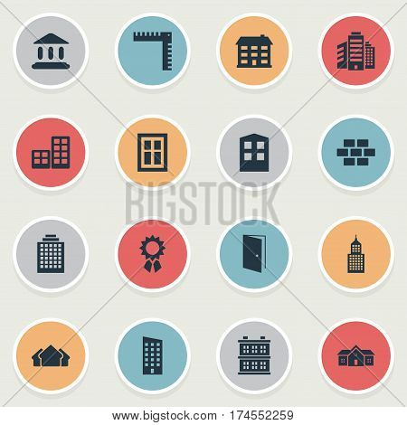 Set Of 16 Simple Construction Icons. Can Be Found Such Elements As Booth, Offices, School And Other.