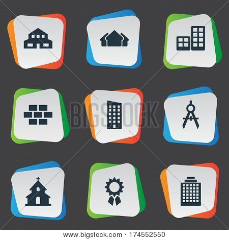 Set Of 9 Simple Construction Icons. Can Be Found Such Elements As Popish, Floor, Residential And Other.