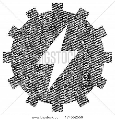 Electric Energy Gear vector textured icon for overlay watermark stamps. Fabric black vectorized texture. Symbol with scratched design. Rubber seal stamp with fiber textile structure.