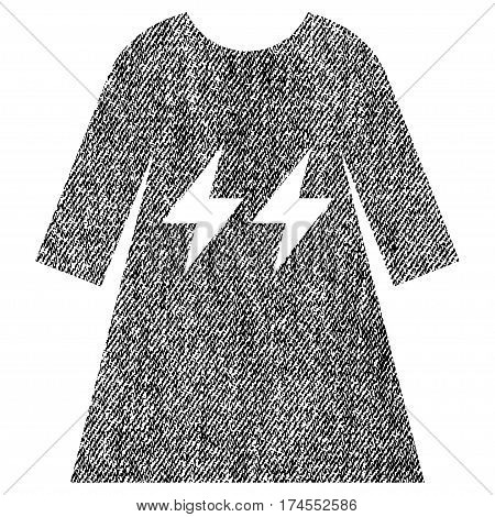 Electric Energy Girl Dress vector textured icon for overlay watermark stamps. Fabric black vectorized texture. Symbol with unclean design. Rubber seal stamp with fiber textile structure.