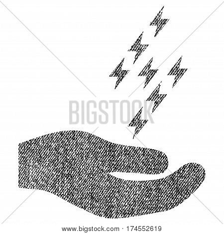 Electric Energy Offer Hand vector textured icon for overlay watermark stamps. Fabric black vectorized texture. Symbol with unclean design. Rubber seal stamp with fiber textile structure.