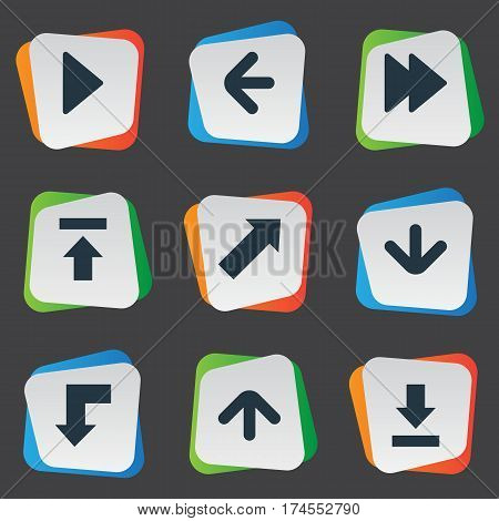Set Of 9 Simple Pointer Icons. Can Be Found Such Elements As Transfer, Advanced, Reduction And Other.