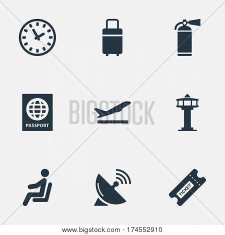 Set Of 9 Simple Transportation Icons. Can Be Found Such Elements As Flight Control Tower, Watch, Protection Tool And Other.