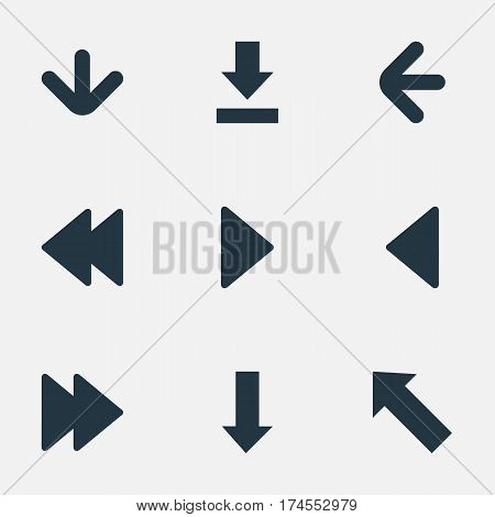 Set Of 9 Simple Arrows Icons. Can Be Found Such Elements As Left Direction , Downwards Pointing, Right Landmark.