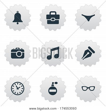 Set Of 9 Simple Instrument Icons. Can Be Found Such Elements As Music, Time, Digital Camera And Other.
