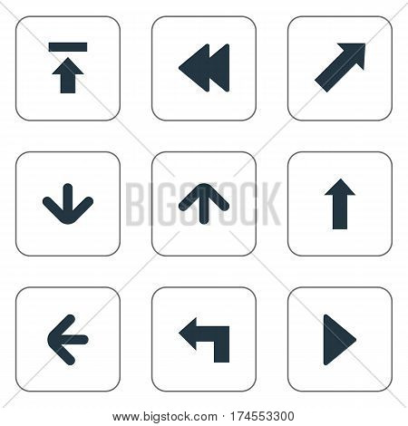 Set Of 9 Simple Indicator Icons. Can Be Found Such Elements As Downwards Pointing, Pointer, Left Direction And Other.