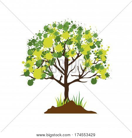 colorful silhouette with leafy tree vector illustration