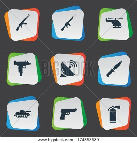 Set Of 9 Simple Army Icons. Can Be Found Such Elements As Pistol, Helicopter, Kalashnikov And Other.