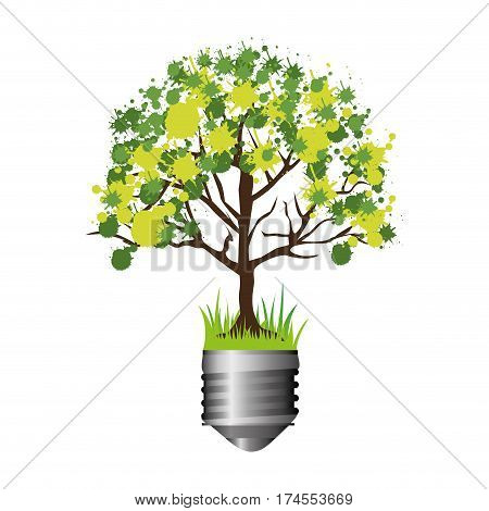 colorful silhouette of light bulb base with leafy tree vector illustration