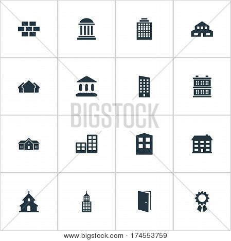 Set Of 16 Simple Structure Icons. Can Be Found Such Elements As Shelter, Popish, Residence And Other.