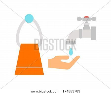 Bathroom icon colored with process water tap savings symbol hygiene and clean household washing cleaning beauty towel vector illustration. Flat interior of wash place concept design.