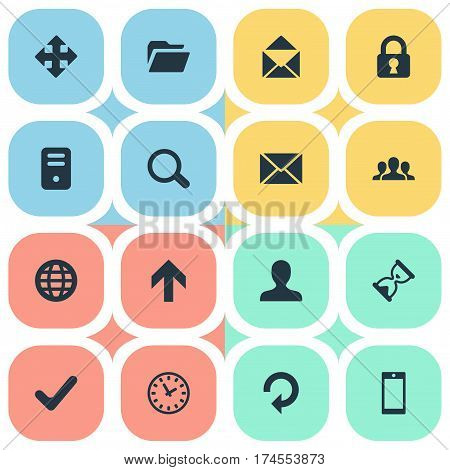 Set Of 16 Simple Apps Icons. Can Be Found Such Elements As Message, Upward Direction, Arrows And Other.