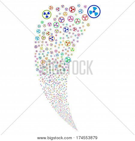 Radioactive random fireworks stream. Vector illustration style is flat bright multicolored iconic symbols on a white background. Object fountain created from scattered pictograms.