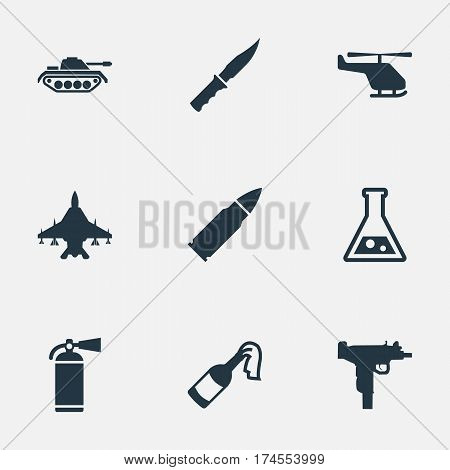 Set Of 9 Simple Military Icons. Can Be Found Such Elements As Ammunition, Sky Force, Molotov And Other.
