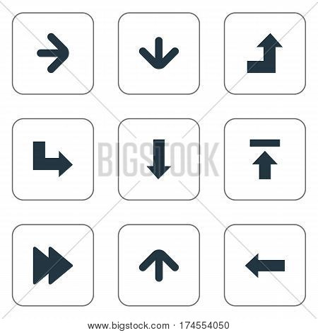 Set Of 9 Simple Pointer Icons. Can Be Found Such Elements As Left Direction, Downwards Pointing, Right Direction And Other.