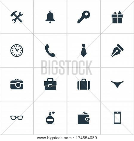 Set Of 16 Simple Instrument Icons. Can Be Found Such Elements As Time, Cravat, Billfold And Other.
