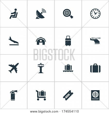 Set Of 16 Simple Travel Icons. Can Be Found Such Elements As Air Transport, Certificate Of Citizenship, Coupon And Other.