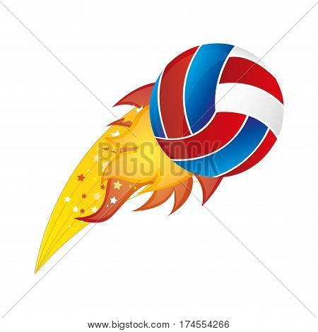 colorful olympic flame with volleyball ball vector illustration