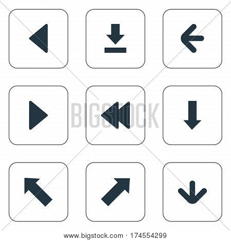Set Of 9 Simple Indicator Icons. Can Be Found Such Elements As Downwards Pointing, Downwards Pointing, Left Direction And Other.