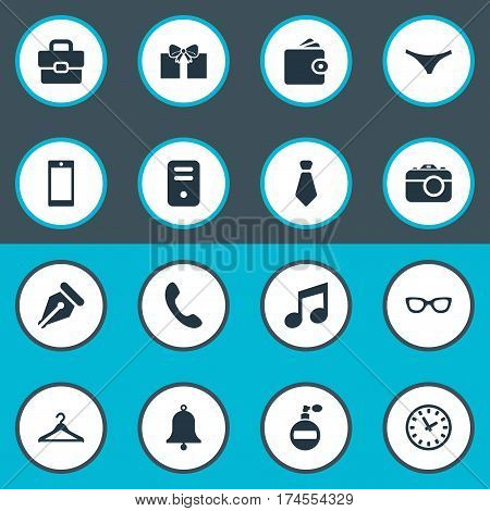 Set Of 16 Simple Instrument Icons. Can Be Found Such Elements As Call Button, Cravat, Hanger And Other.