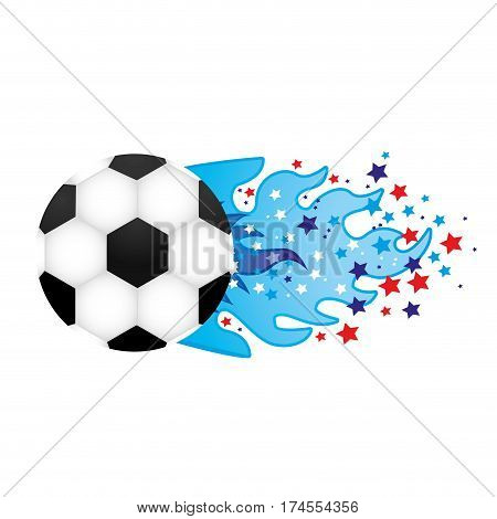 colorful olympic flame with stars and soccer ball vector illustration